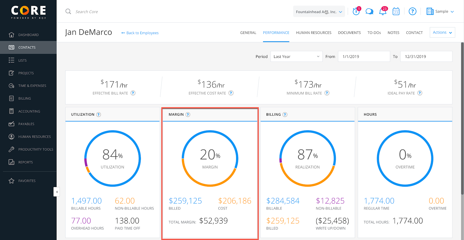 BQE Core gives you much greater visibility into the revenue earned by each employee